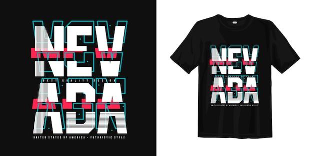 ネバダ州の抽象的なタイポグラフィスタイリッシュなトレンディなtシャツデザイン
