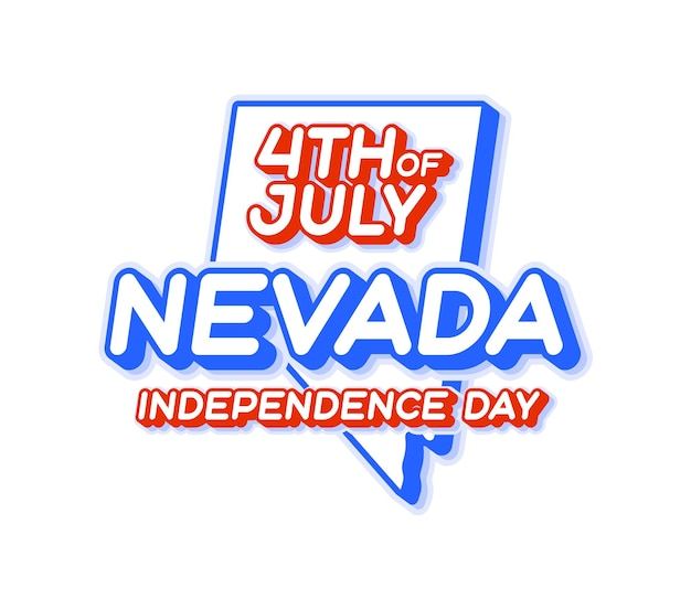 Nevada state 4th of july independence day with map and usa national color 3d shape of us