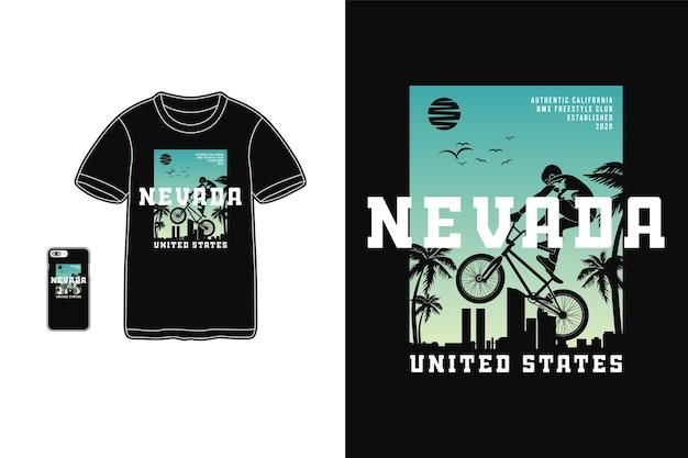 Невада сша велосипедный мотокросс, дизайн футболки силуэт в стиле ретро