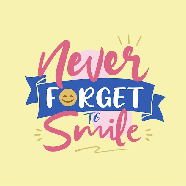 Never forget to smile typography vector