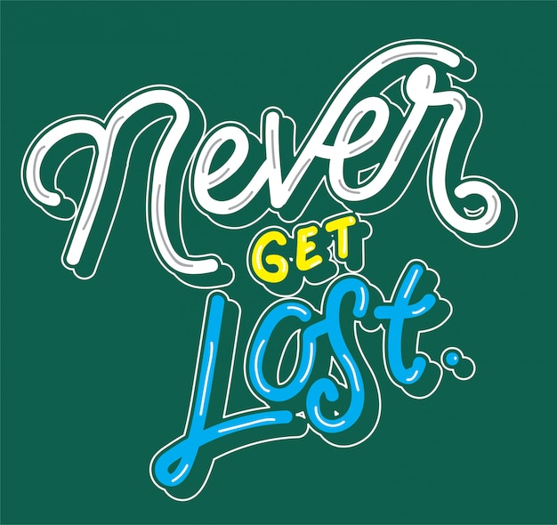 Never get lose typography letter quote