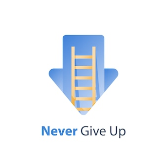 Never give up concept illustration