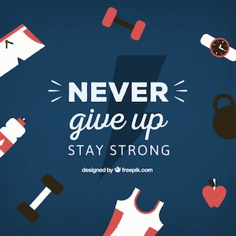 Never give up lettering with sporty elements