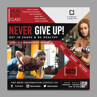 Never give up sport flyer template