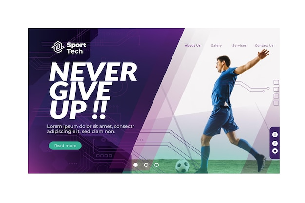 Never give up sport landing page template