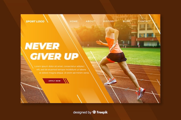 Never give up sport landing page
