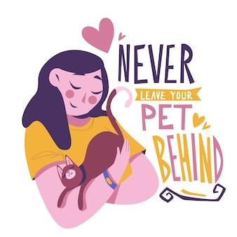 女性や猫と一緒にペットを置き忘れないでください