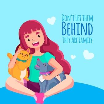 ペットを女性のキャラクターの後ろに置いたままにしないでください