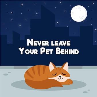 Non lasciare mai il tuo animale domestico dietro l'illustrazione del concetto con il gatto