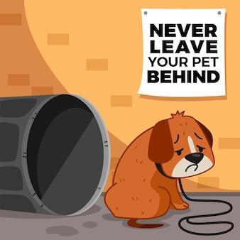 Non lasciare mai il tuo animale domestico dietro il concetto