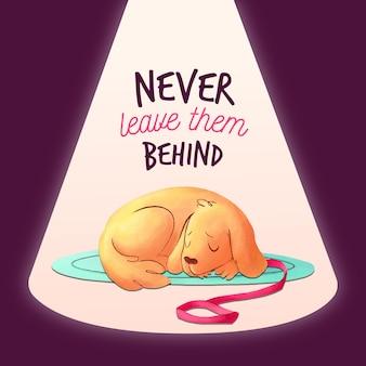 Non lasciare mai il tuo animale domestico dietro l'illustrazione con il cane