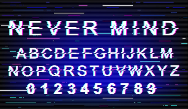 Never mind font template. retro futuristic style alphabet set on blue background. capital letters, numbers and symbols. dont care message typeface design with distortion effect