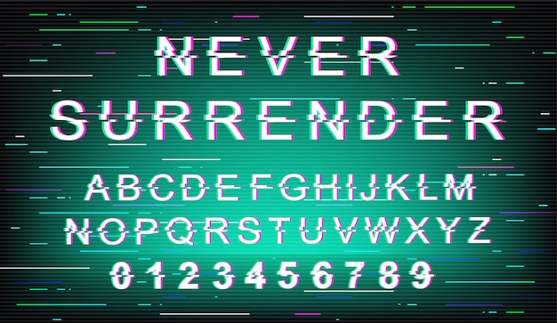Never surrender glitch font template. retro futuristic style alphabet set on green background. capital letters, numbers and symbols. trendy typeface design with distortion effect
