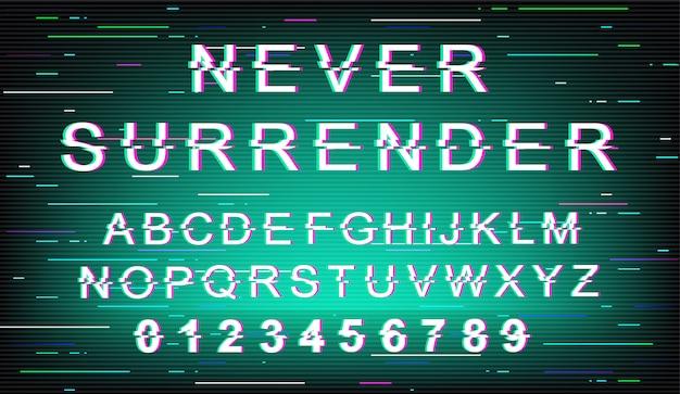 글리치 글꼴 템플릿을 절대 포기하지 마십시오. 복고풍 미래 스타일 알파벳 녹색 배경에 설정입니다. 대문자, 숫자 및 기호. 왜곡 효과가있는 트렌디 한 서체 디자인