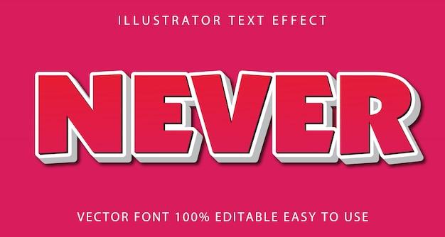 Never vector editable text effect