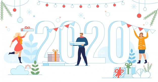 New 2020 year celebration banner in flat style