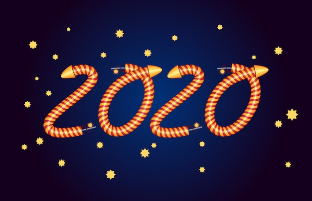 New 2020 year. party invitation. elements of fireworks.