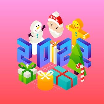 Новая концепция 2022 года. векторная иллюстрация зимнего праздника изометрии поздравительной открытки.