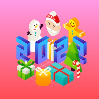 New 2022 year concept. vector illustration of winter holiday isometry greeting card.