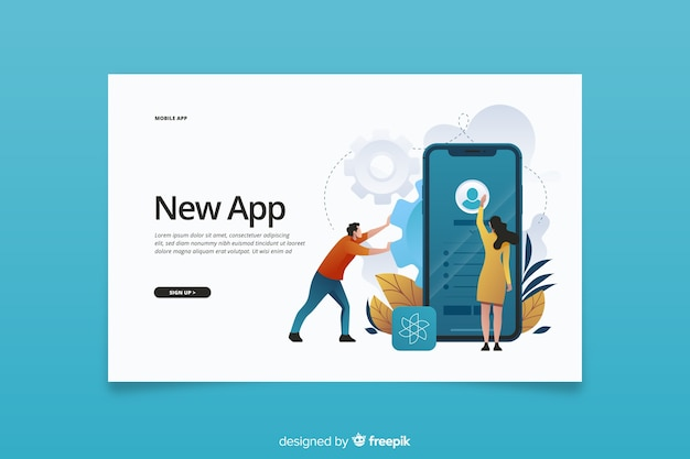 New app for mobile phones landing page