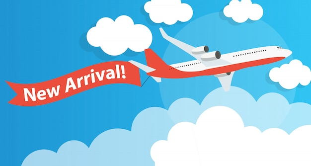 New arrival advertising with airplane. vector illustration