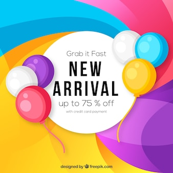 New arrival background with colorful balloons