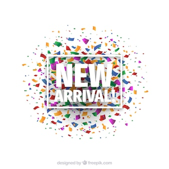New arrival background with colorful confetti