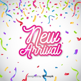 New arrival background with confetti