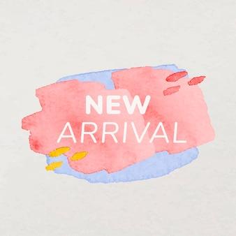 새로운 도착 배지 스티커, 페인트 질감, 쇼핑 이미지 벡터