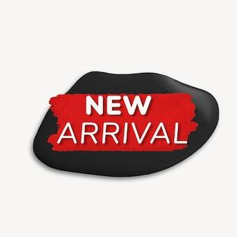 Nuovo adesivo distintivo di arrivo, struttura della vernice, vettore di immagine dello shopping