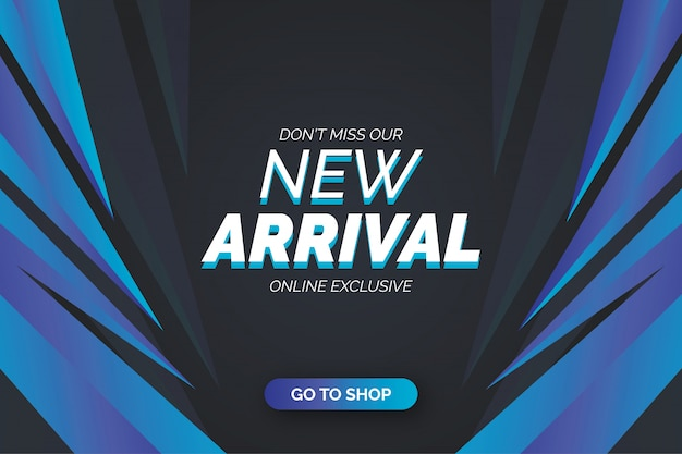 New arrival banner template with blue shapes