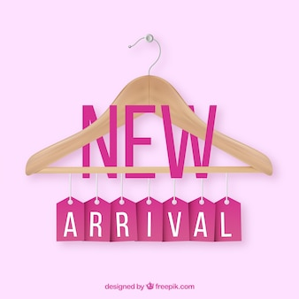 New arrival composition with realistic cloth hanger