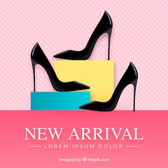 New arrival composition with realistic high heels