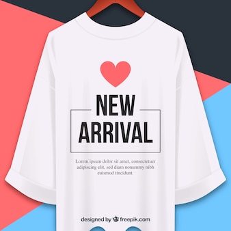 New arrival composition with realistic t-shirt