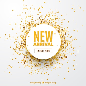 New arrival concept background with golden confetti