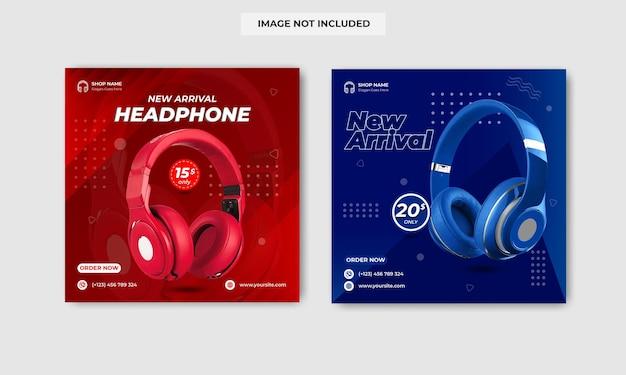 새로운 도착 헤드폰 판매 소셜 미디어 배너 서식 파일 디자인
