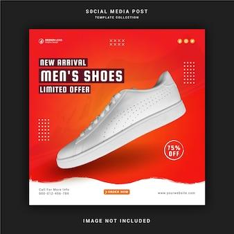 Новое поступление мужской обуви в социальных сетях Premium векторы