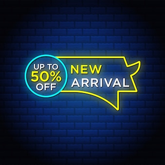 New arrival sales discount banner  in neon style.