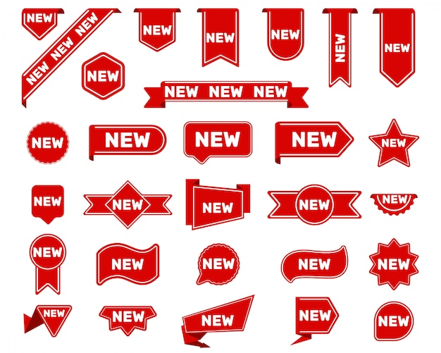 New arrival tags and stickers set Free Vector