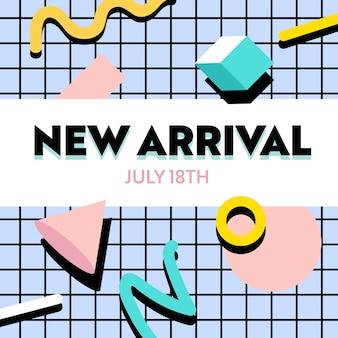 Новое поступление, модный баннер в стиле фанк с красочными геометрическими фигурами на клетчатом узоре