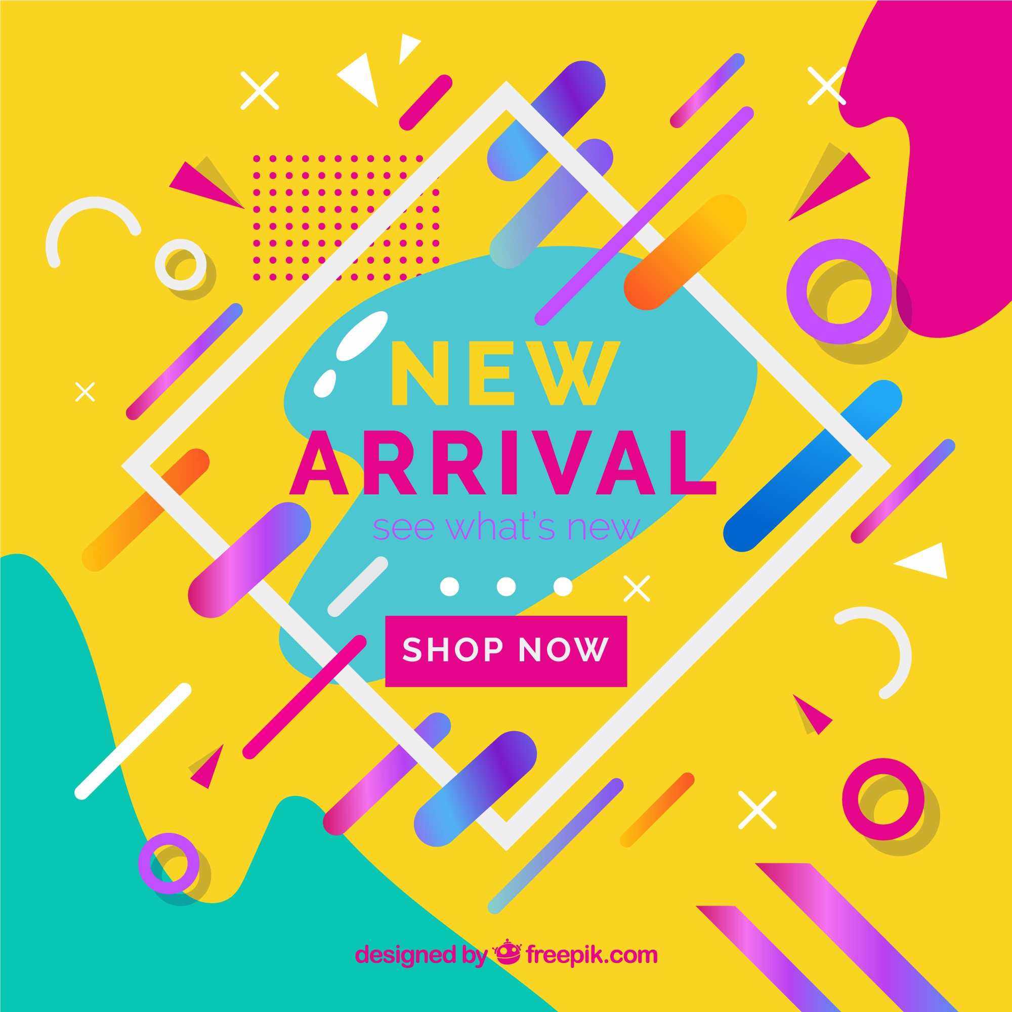 New arrival with colorful background