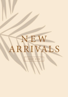 New arrivals social media story layout design with tropical leaf shadow on beige background template