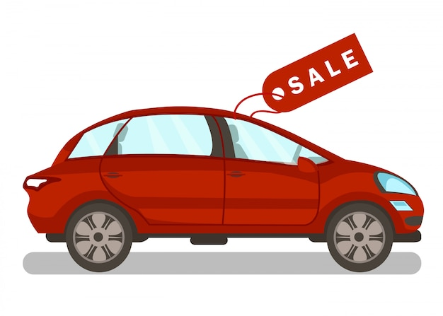 New automobile for sale flat vector illustration