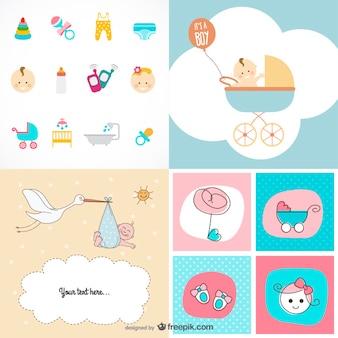 かわいい赤ちゃんアイテムのテーマベクトル材料
