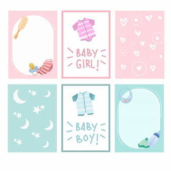 New baby born and baby shower cute card design vector collection.