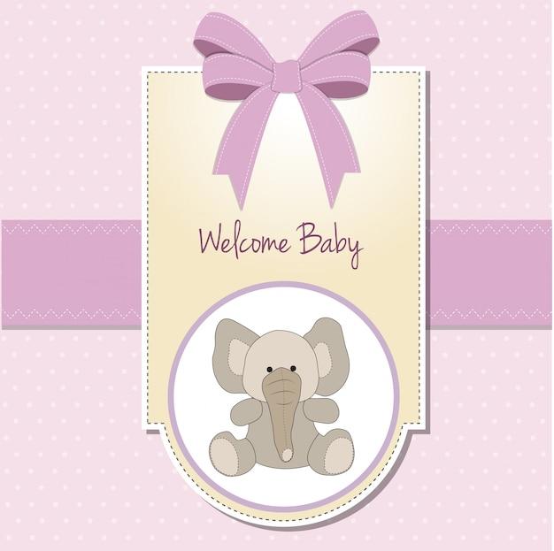 象の新しい赤ちゃんの少女発表カード