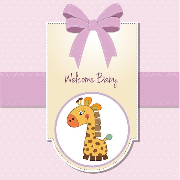 キリンと新しい赤ちゃんの女の子発表カード