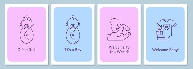 線形グリフアイコンが設定された新しい赤ちゃん歓迎イベントポストカード。装飾的なベクトルデザインのグリーティングカード。クリエイティブな線画イラスト付きのシンプルなスタイルのポスター。休日の願いを込めたチラシ