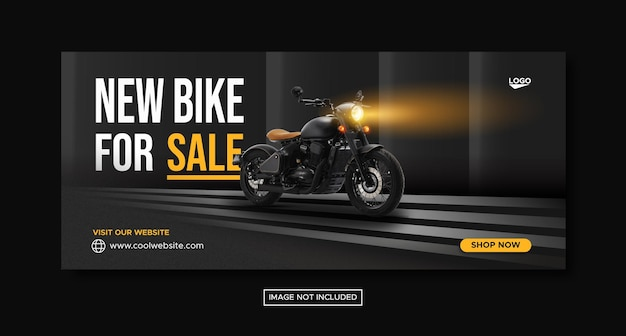 New bike sale promotion social media cover banner on red podium template