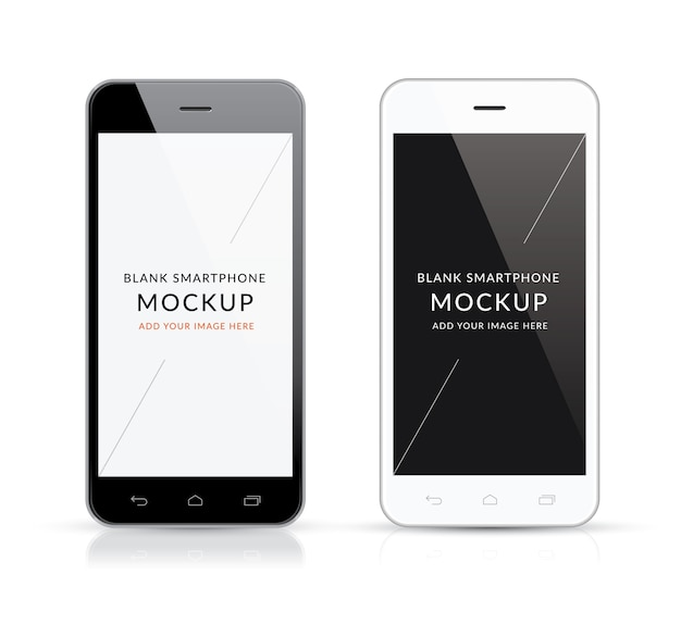 New black and white modern smartphone mockup vector illustration